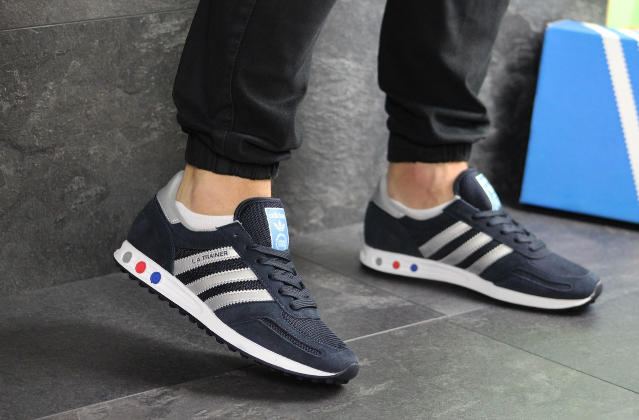 Мужские кроссовки Adidas La Trainer (темно-синие с серым)