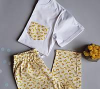 Пижама женская хлопковая бананы (штаны + футболка)