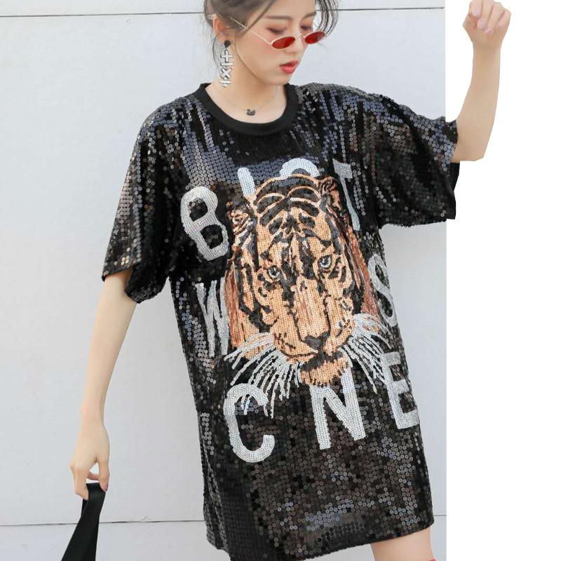 Женское платье туника Tiger с пайетками черное