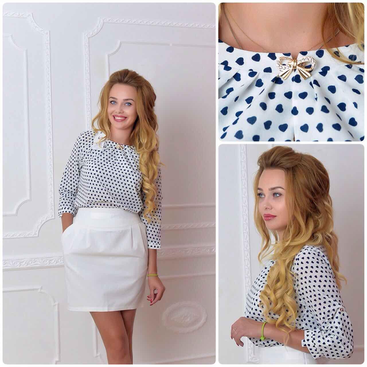 Блузка /блуза с брошью и рукавом 3/4, модель 779 , принт сердечко на белом