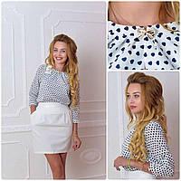 Блузка /блуза с брошью и рукавом 3/4, модель 779 , принт сердечко на белом, фото 1