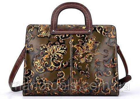 Итальянская женская кожаная сумочка Amy Lee Коричневая