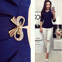 Блузка /блуза с брошью и рукавом 3/4, модель 779 , принт сердечко в кружочке