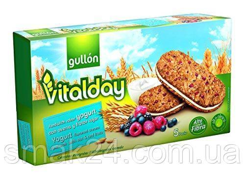 Печенье злаковое с йогуртом и ягодами с содержанием клетчатки Gullon Vitalday 220гр (5х44г)  Испания