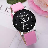 Женские наручные часы Lvpai 80616-3 | Черные с бледно-розовым ремешком