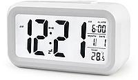 Электронные часы/будильник LED с умной подсветкой и термометром