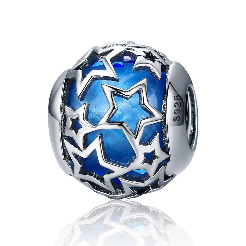 "Шарм Pandora Style (стиль Пандора) ""Звездочки синие"""