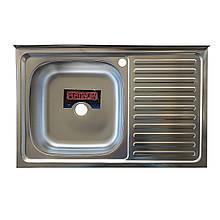 Накладная кухонная мойка из нержавеющей стали Platinum 8050 Декор 0,7 Лева/Правая