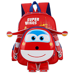 Рюкзак детский 3D Super Wings 32см * 11см * 25см, красный, 3-9 лет.