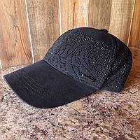 Бейсболка, кепка cо стразами черная, фото 1
