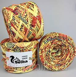 Трикотажная принтованная пряжа Belka, цвет желтый в цветочки