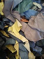 Обрезки перчаточной кожи, для кукольной обуви и аксессуаров,  на вес. МИКС, БОЛЬШИЕ КУСКИ