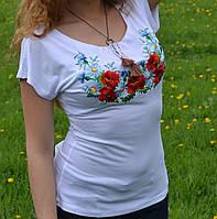 """Футболка с вышивкой """"Полевые цветы"""", 200\150 (цена за 1 шт. + 50 гр.)"""