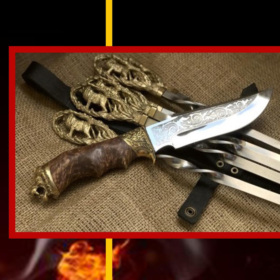 """Шампура ручной работы """"Львы"""" с красивым ножом"""