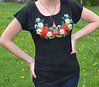 """Вышиванка-футболка женская """"Полевые цветы"""", 200\150 (цена за 1 шт. + 50 гр.)"""