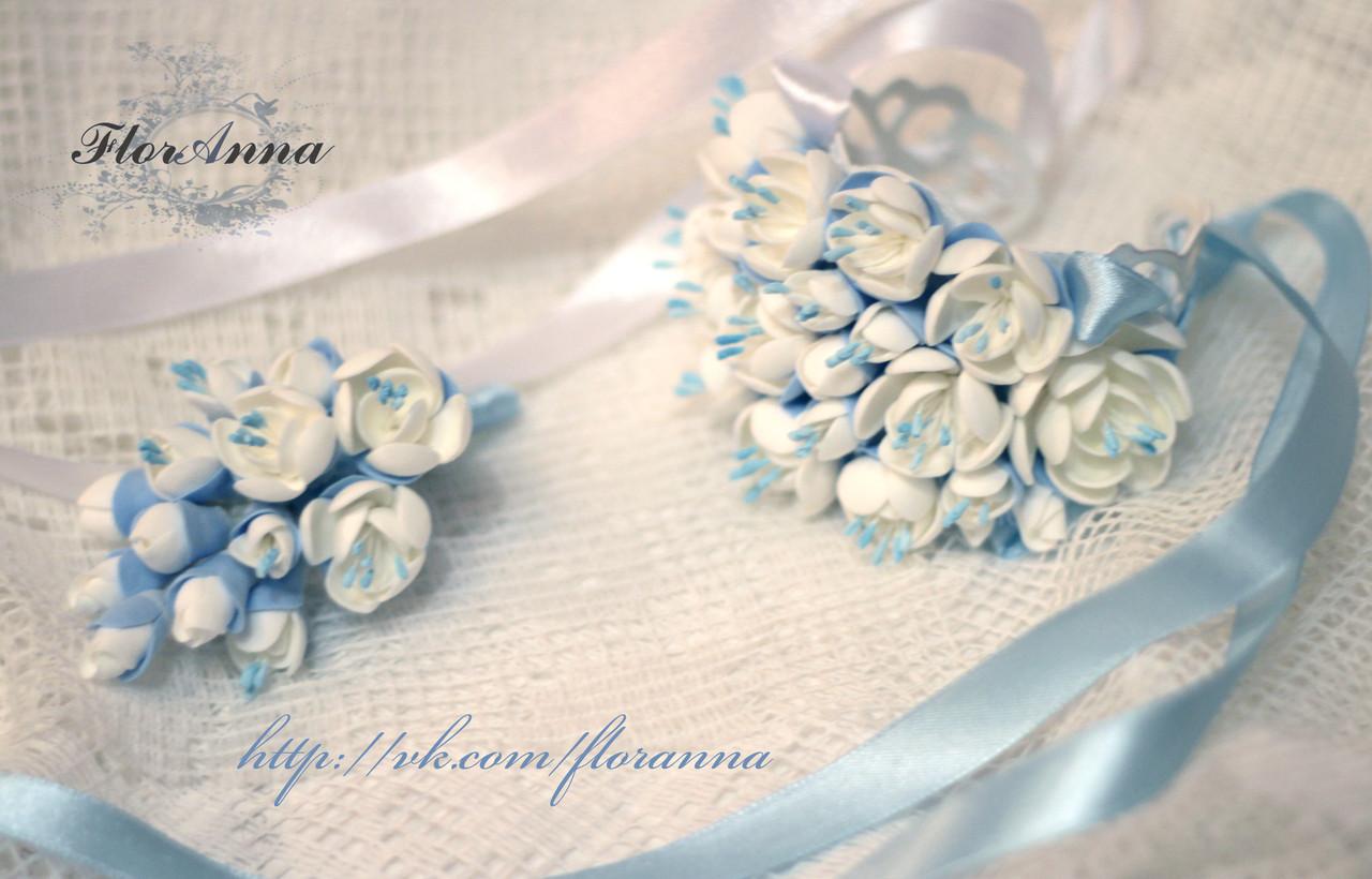 """""""Бело-голубой жасмин"""": браслет+бутоньерка. Свадебный комплект ручной работы. , фото 1"""