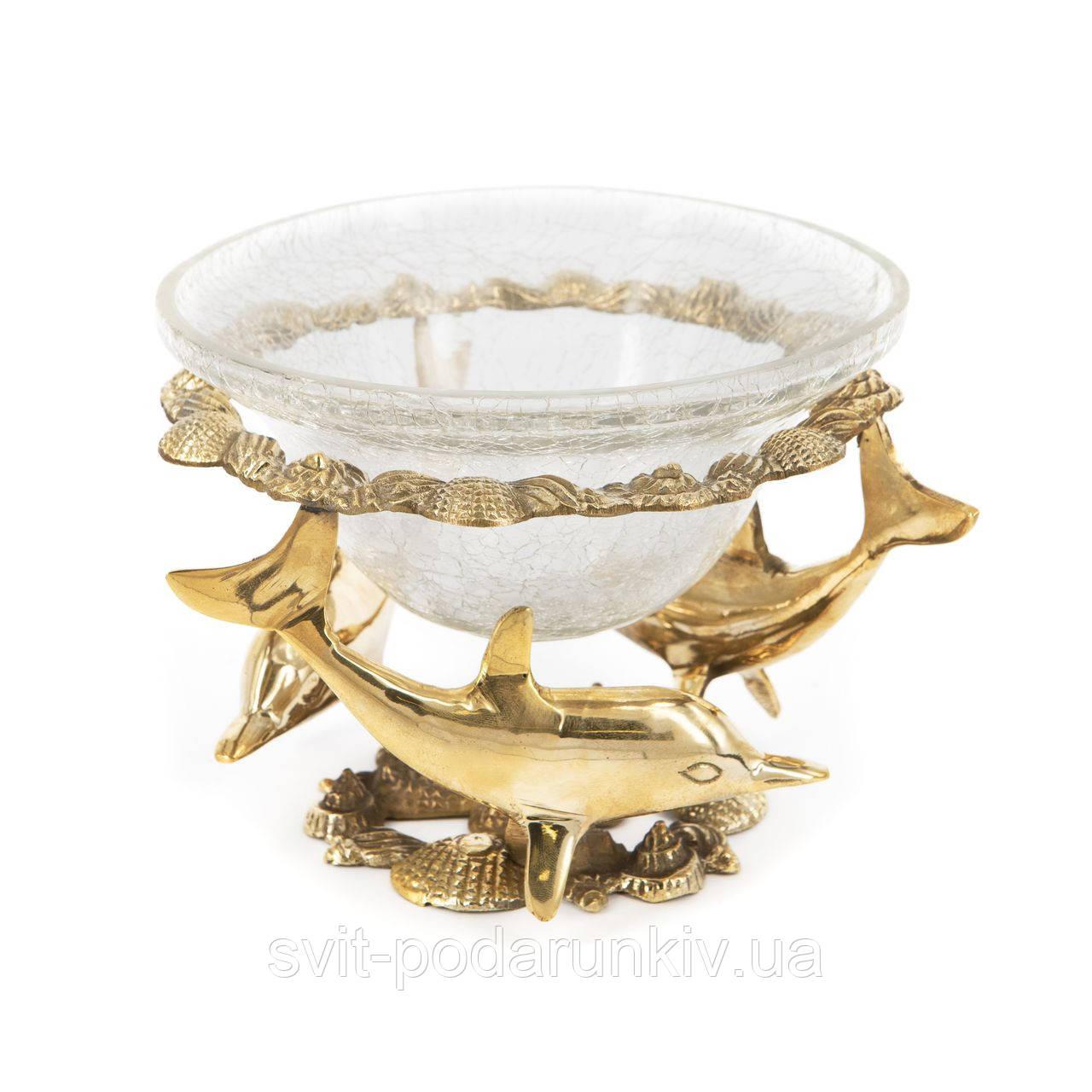 Скляна ваза для цукерок та печива з трьома дельфінами S2354