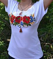 """Вышиванка-футболка женская  """"Маки с колосками"""",200\150 (цена за 1 шт. + 50 гр.)"""