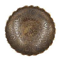 Фруктовница металлическая с волнистой окантовкой и крестовидным рисунком S2003