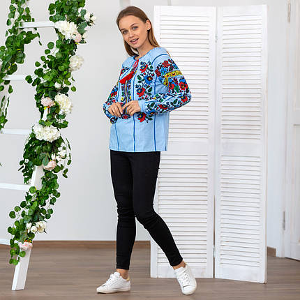 Женская блуза вышиванка Мальва голубая, фото 2
