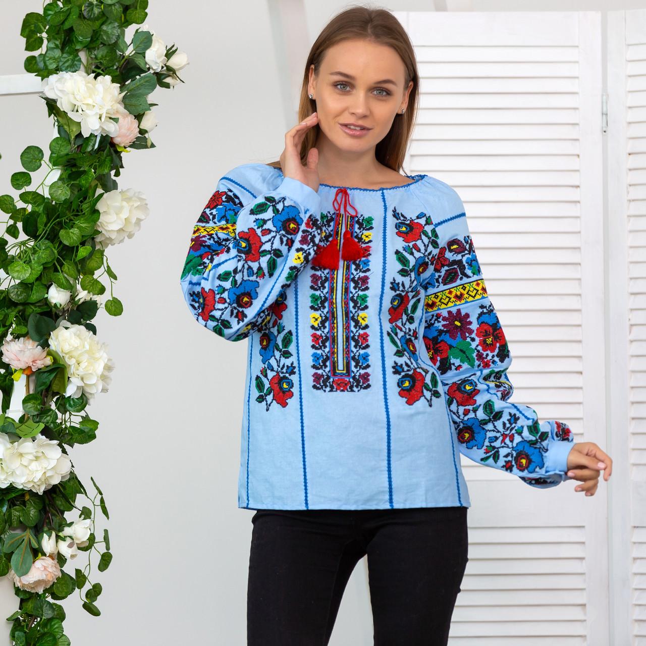 Женская блуза вышиванка Мальва голубая