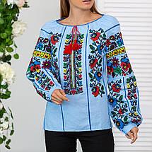 Женская блуза вышиванка Мальва голубая, фото 3