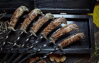 """Набір шампурів в кейсі з дерева бук """"Хижі птахи"""". Шампури для шашлику в подарунок братові, другу, свату, фото 2"""