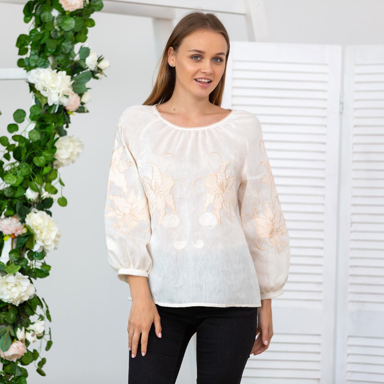 Жіноча блуза з вишивкою Француський шарм беж