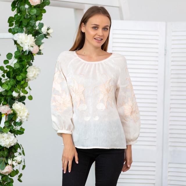 Женская блуза с вышивкой Французский шарм беж