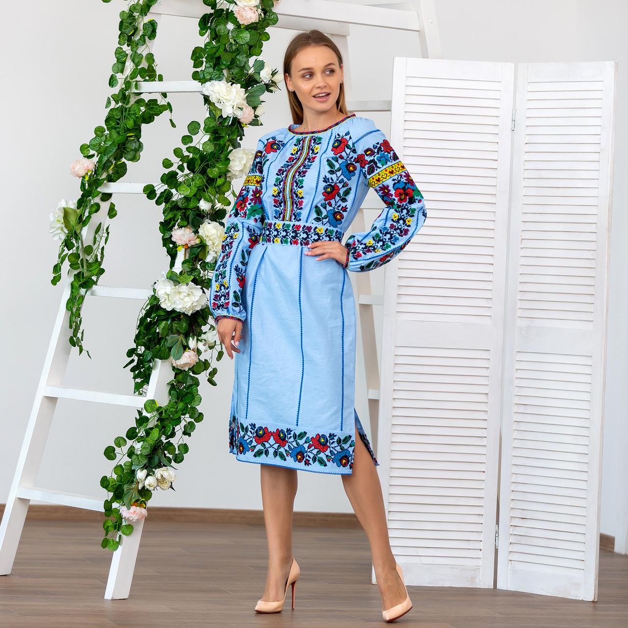 Женское вышитое платье Голубая нежность