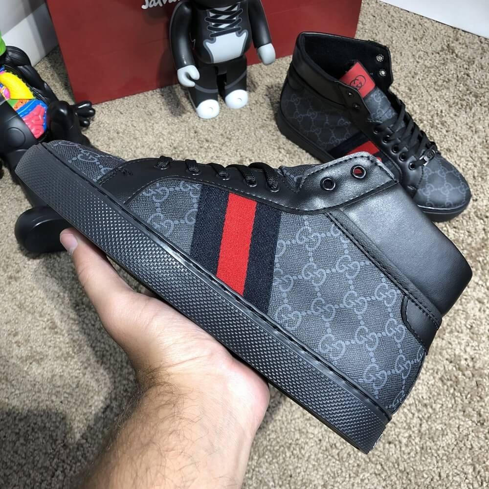Gucci High Top Head GG Supreme Gray Sneaker Black