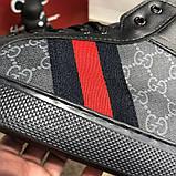 Gucci High Top Head GG Supreme Gray Sneaker Black, фото 4