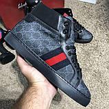 Gucci High Top Head GG Supreme Gray Sneaker Black, фото 5