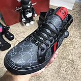 Gucci High Top Head GG Supreme Gray Sneaker Black, фото 6