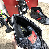 Gucci High Top Head GG Supreme Gray Sneaker Black, фото 7