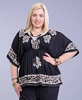 Блузка женская черная на резинке, батал, размер свободный