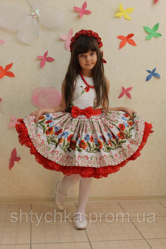 Нарядное платье на девочку в укр стиле с пышным подьюпником