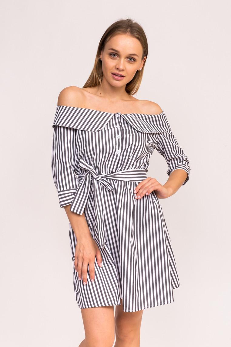 Платье-рубашка в полоску M.C.J - черный цвет, L (есть размеры)