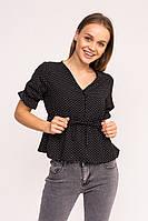 Стильная блузка в горошек LUREX - черный цвет, S (есть размеры), фото 1