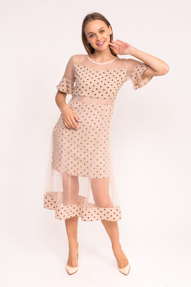 Длинное платье в горох KDY - бежевый цвет, S (есть размеры)