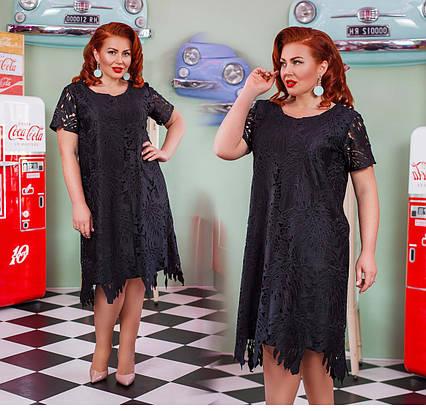 """Шикарное женское нарядное платье в больших размерах 15182 """"Коттон Ажур Папоротник"""" в расцветках"""
