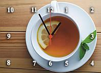 """Часы настенные стеклянные """"Чай с лимоном"""" кухонные, фото 1"""