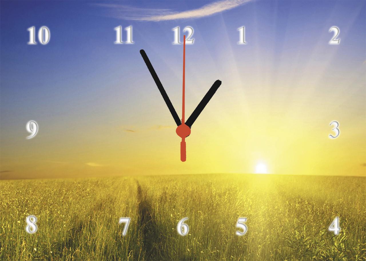 """Годинники настінні скляні """"Захід сонця над нивою"""""""