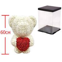 Мишка из роз c сердцем, 60 см KS Bear Flowers KS BS3 White - 148561