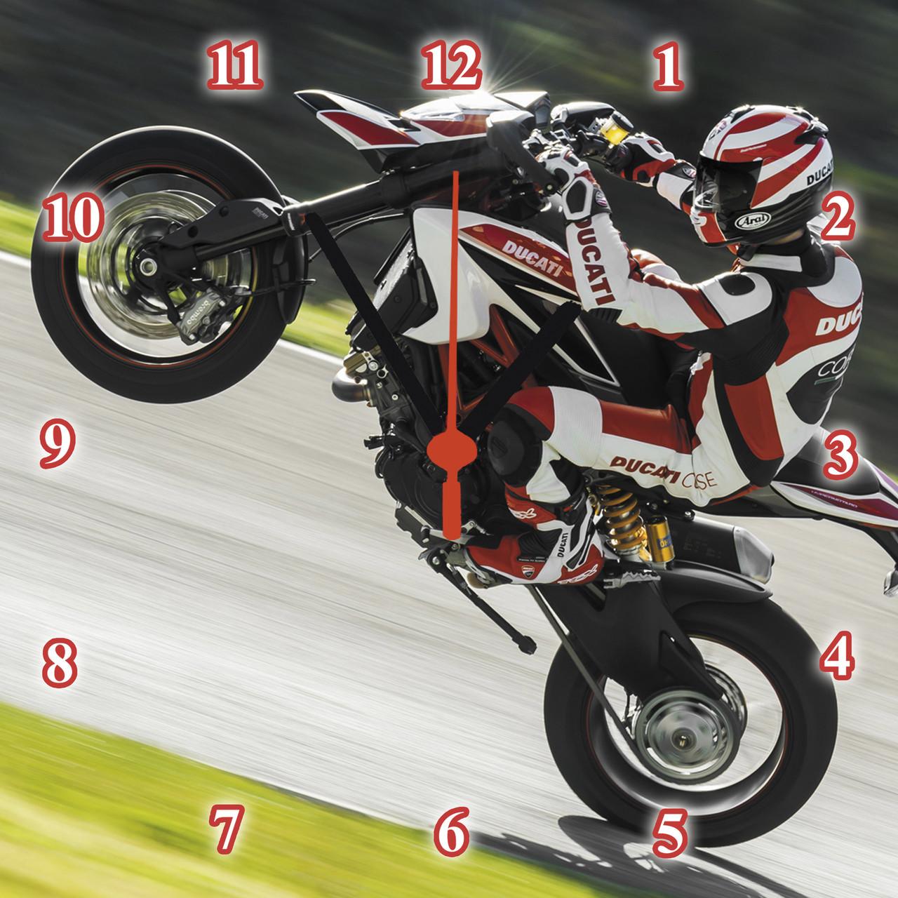 "Часы настенные стеклянные ""Ducati Hypermotard"""