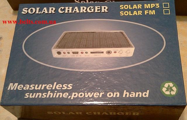 Солнечное зарядное устройство 2000 мАч с FM-радио и фонарем  Solar Charger+Radio+Flashlight
