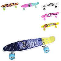 Скейт BT-YSB-0083 пластик.свет.PU колеса 55*14см, Светящийся скейт, Скейт для детей, Скейт детский