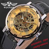 Чоловічий механічний годинник скелетон Skeleton ОРИГІНАЛ WINNER GOLD (2), фото 1
