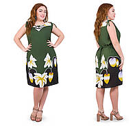 Красивое летнее платье женское трикотажное размеры 48-52