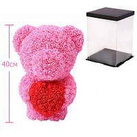 Мишка из роз c сердцем, 40 см KS Bear Flowers KS BS2 Pink - 148565